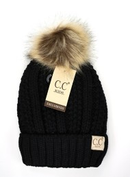 Youth Girls' C.C Fuzzy Lined Fur Pom Beanie