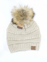 Women's Crane Clothing Fur Pom CC Beanie