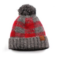 Women's C.C Buffalo Check Pom Beanie