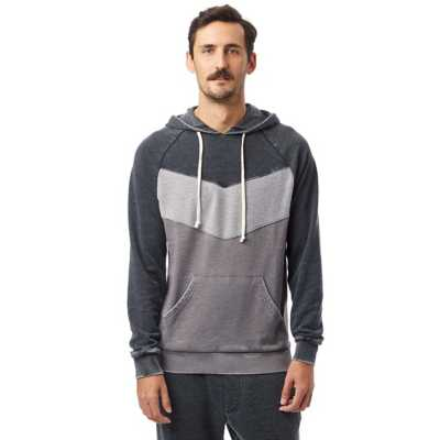 Men's Alternative Apparel Chevron Blcoked Burnout French Terry Hoodie