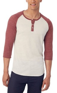 Men's Alternative Apparel Basic Henley Raglan Shirt