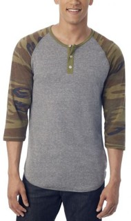 Men's Alternative Apparel Basic Printed Henley Raglan Shirt
