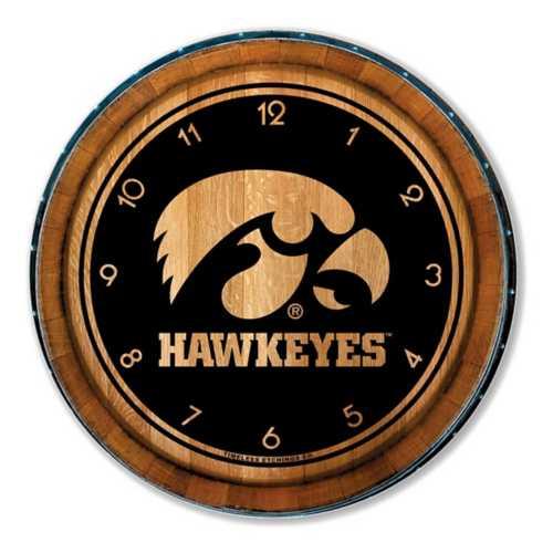 Timeless Etchings Iowa Hawkeyes Wood Barrel Clock