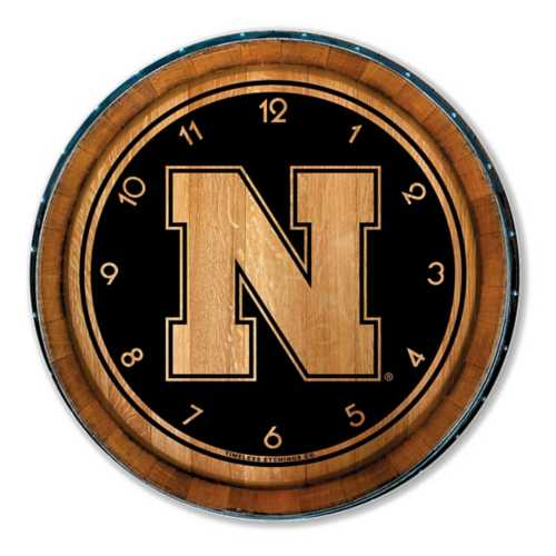 Timeless Etchings Nebraska Cornhuskers Wood Barrel Clock