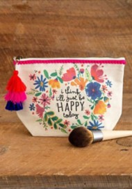 Natural Life I'll Just Be Happy Canvas Pouch