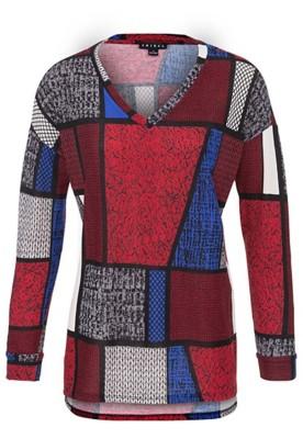 Women's Tribal Color Block V-Neck Tunic