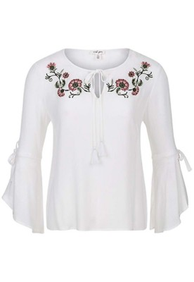 Women's Tribal Embroidered Bell Long Sleeve Blouse