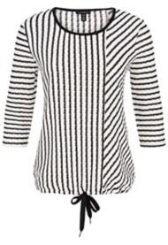 Women's Tribal Asymmetrical Striped Tie Bottom 3/4 Sleeve Shirt