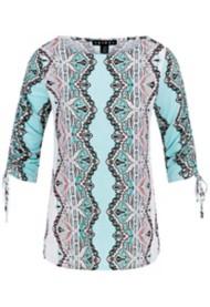 Women's Tribal Mix Printed Shirring 3/4 Sleeve Shirt