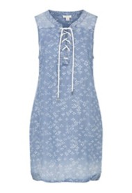 Women's Tribal Denim Lace-Up Sleeveless Dress
