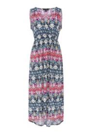 Women's Tribal High-Low Printed Sleeveless Maxi Dress