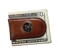 Weber's Caramel Leather Magnetic Money Clip Wallet
