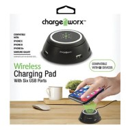 Chargeworx Wireless Charging Pad with Six USB Ports