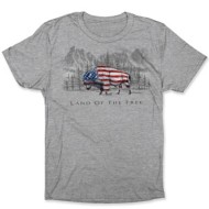 Adult Bone Head Outfitters Land of the Free Bison T-Shirt