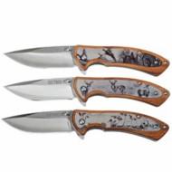 Old Timer Etched Wildlife  3-Piece Knife Set