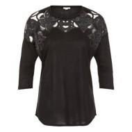 Women's Tribal Floral Burnout 3/4 Sleeve Shirt