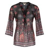 Women's Tribal Polka Dot Floral 3/4 Sleeve Shirt