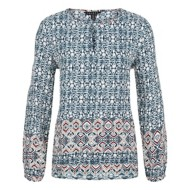 Women's Tribal Keyhole Neck Long Sleeve Shirt