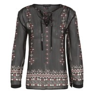 Women's Tribal Lace Up Neck Long Sleeve Shirt