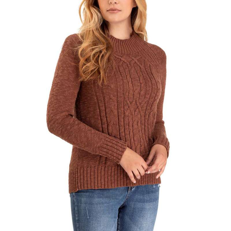 Women's Tribal Mock Neck Cable Knit Sweater