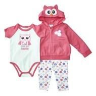 Infant Girls' Bunz Kidz Owl Love Hooded 3 Piece Set
