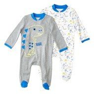 Infant Boys' Bunz Kidz Dinosaur Sleep N Play Romper 2 Piece Set