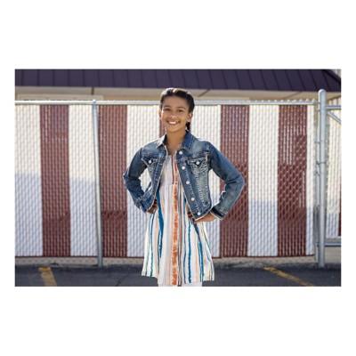 Grade School Girls' Grace in LA Denim Fray Jacket