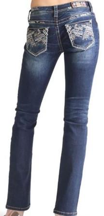 Grade School Girls' Grace in LA Angle Stitch Boot Cut Jean