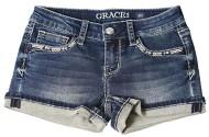 Grade School Girls' Grace In LA Diamond Stretch Denim Short