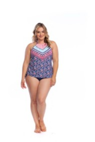 Women's 24th & Ocean Plus Size La Bohemian Retro Hi-Neck Tankini