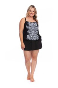 Women's 24th & Ocean Plus Size Moroccan Paisley Tankini