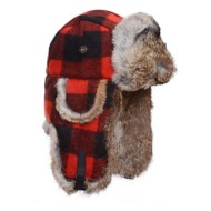 Mad Bomber Wool Fur Plaid Hat