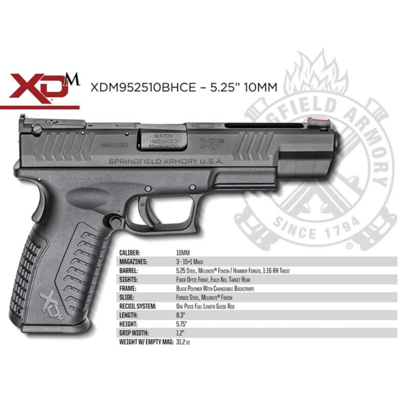 Springfield Armory XDM952510BHCE  10M         5.25        BLK 15R Pistol