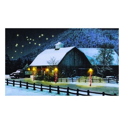 Lighted The Barn At Christmas Canvas