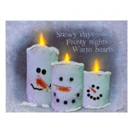 Lighted Snow Candles Canvas With Timer