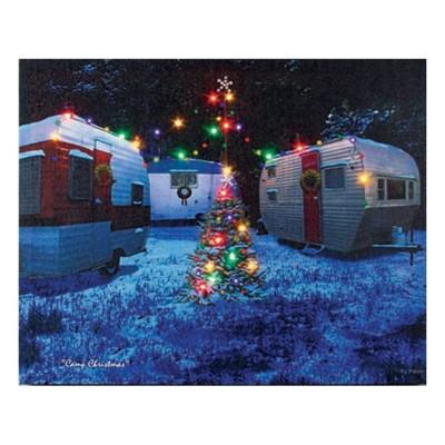 Lighted Camp Christmas Canvas