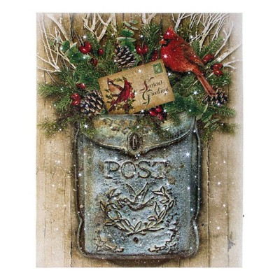 Lighted Snow Vintage Mailbox Canvas