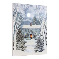 Lighted Glittered Trees Canvas