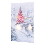 Lighted Musical Magic Christmas Bridge Canvas