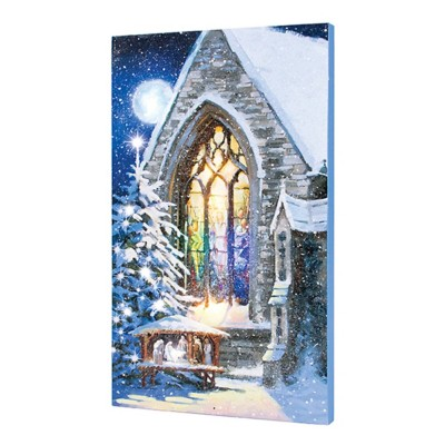 Lighted Musical Magic Manger Canvas