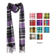 Elan Blanc Bright Plaid Cashmere Scarf