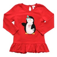 Preschool Girls' Globaltex Festive Penguin Long Sleeve Tunic