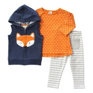 Infant Girls' Globaltex Denim Fox Vest With Tunic And Legging 3 Piece Set