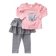 Infant Girls' Globaltex Little Glitter KittyShirt With Sparkle Skirt Legging Set