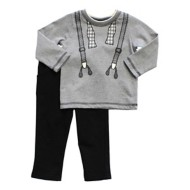 Infant Boys' Globaltex Suspender Tie Shirt With Pant Set