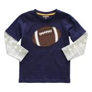 Toddler Boys' Globaltex Graphic Football Long Sleeve Shirt