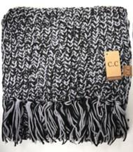 Women's Crane Clothing Two-Tone Knit CC Tassel Scarf