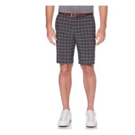 Men's PGA TOUR Flat Front Active Waistband Hybrid Short With Mini Plaid Print