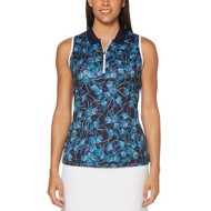 Women's PGA TOUR Floral Breeze Print Sleeveless Polo Golf Shirt