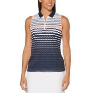 Women's PGA TOUR Engineered Directional Stripe Print Sleeveless Golf Shirt